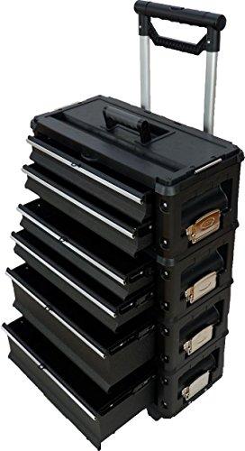 Metall Werkzeugtrolley XXL Serie 305 mit Schubladenverriegelung und Schloss von AS-S, Farbe:Schwarz - 5 Schublade Seitliche Metall