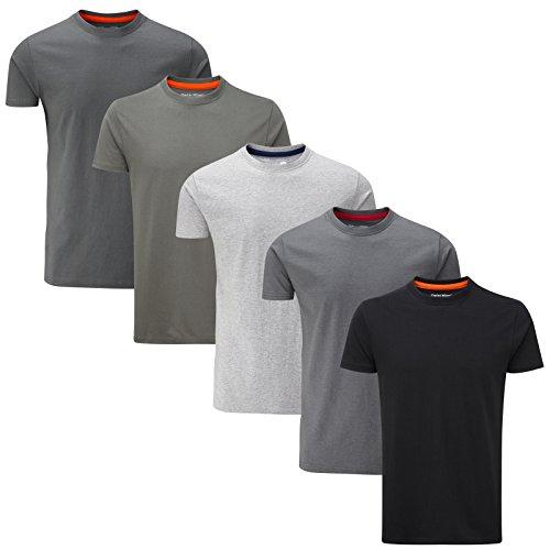 Charles Wilson 5er Packung Einfarbige T-Shirts mit Rundhalsausschnitt (XX-Large, Grey Essentials)