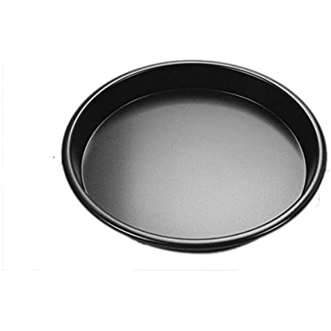 asentechuk 10Inch regla de acero al carbono redondo antiadherente bandeja de Pizza pan horno hornear herramientas profunda