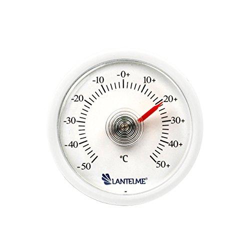 Lantelme 6261 Universal Thermometer - Mit Bimetall Federelement und Analoger Temperaturanzeige Kunststoff Farbe weiss