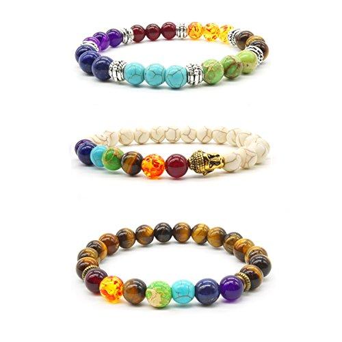 3 pcs Bracelet de Pierres Naturelle Oeil de Tigre Reiki Healing Bracelet de Turquoise Blanche Chakra Charm Bracelet de femmes d'hommes