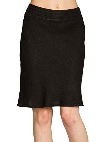 CASPAR RO021 Knielanger eleganter Damen Leinenrock mit figurfreundlichem Stretch Bund, Farbe:schwarz;Größe:S/M