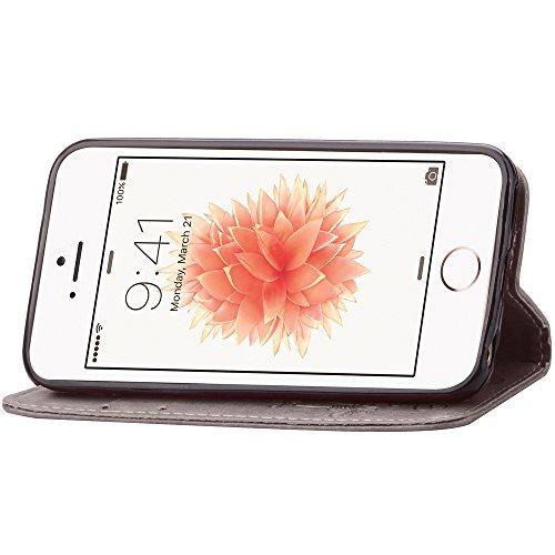 Feeltech Apple iPhone SE 5 5S Bookstyle Étui en Cuir Case à Rabat Magnétique Fermeture Coque de Protection avec Porte Carte et Stand, Ultra Slim Portefeuille Motif Case Cover pour Apple iPhone SE 5 5S Trèfle-Brun