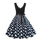 Damen Retro Trompetenkleid ärmellose Mode Drucktupfen Kleid Rock groß Swing Party Abendkleid URIBAKY