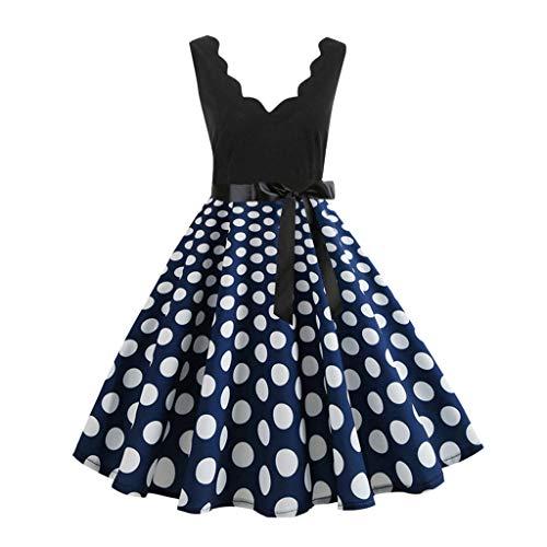 Damen elegant 50er Jahre Petticoat Kleider Drucken Abendkleider Rockabilly Kleider Cocktailkleider Ärmellos Kleidung Abendkleider Partykleid Knielang Kleid Mit Gürtel