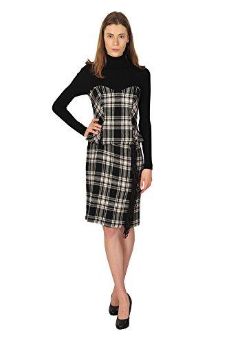 ermanno-scervino-dress-women-black-checkered-wool-polyamid-36