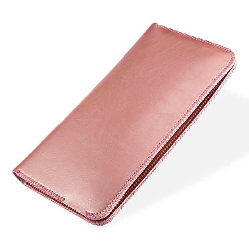 Ayotu Men & Women Leather Long Clip Bifold Wallet Phone Case Card Holder Sleeve Bag Purse Slim Flip Cover Case for iPhone 7 Plus,6S Plus,7,6S,6,5S,Samsung Galaxy S7,S7 Edge,S6,S6 Edge,S5,Note 5,Note4- Pink