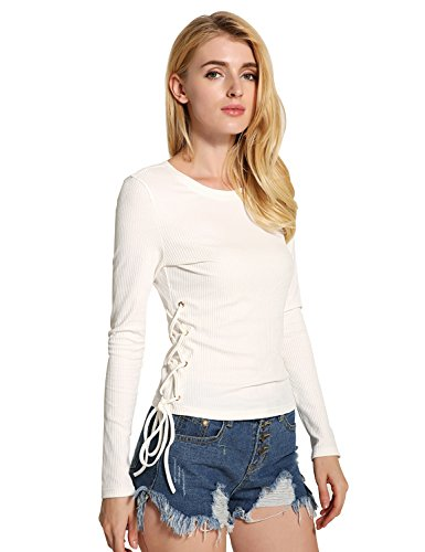Relaxfeel Col rond Rope Porter à manches longues Slim Pull Blanc