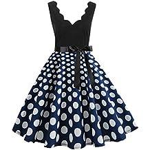 Ginli Vestito Donna Elegante Donna Senza Maniche Stampa Moda Vestiti  Vintage Flare Abito Vestito Donna Manica 1af733cee03
