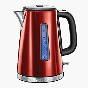 Russell Hobbs 23210 Luna Quiet Boil Electric Kettle, Stainless Steel, 3000 W, 1.7 Litre, Red