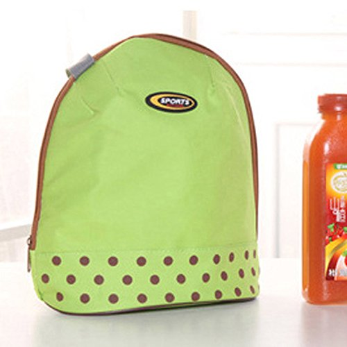 Coloré(TM) Sac Repas Lunch Bag Sac à Déjeuner Isotherme Boîte à lunch Cooler Zipper Bag Bento Dot Fourre-tout Poche Lunch Pattern (Vert)