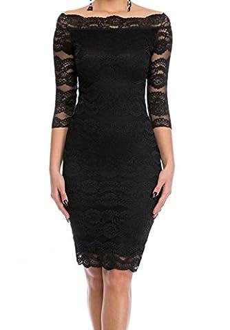 Bling-Bling Black Lace Scalloped Off Shoulder Midi Dress(Size,S)