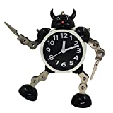 Eastever Cartoon Metal Robot Alarm Clock, Cute Creative Non-ticking Wake-up Clock with Free Twist Hands & Legs - Black