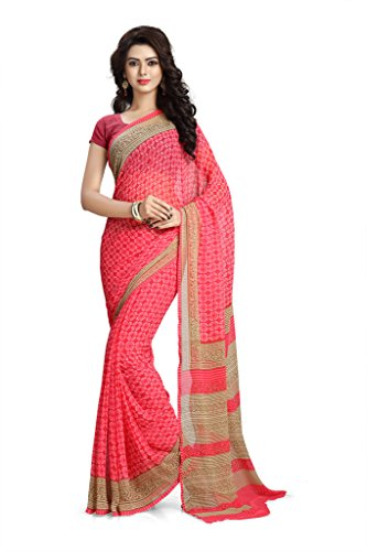 Vaamsi Chiffon Saree with Blouse Piece (RC3201_Pink_One Size)