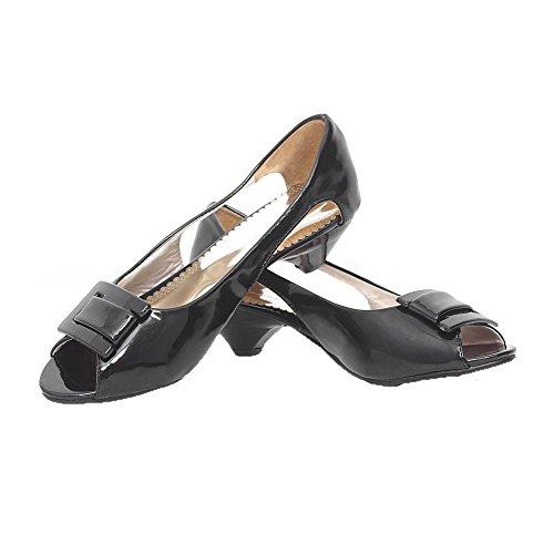 AalarDom femme Ouverture Petite à Talon Bas Pu Cuir Couleur Unie Tire Sandales Noir(3.5cm)