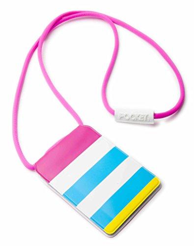 Original Lanyards POCKET stylische Taschengeldbörse Brustbeutel, in 10 Farben erhältlich - (Made In Portugal) Pink Stripes