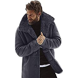 Beaulies Mens Thicken Plush Fleece Cardigan Coat, Men''s Winter Sheepskin Jacket Warm Wool Lined Mountain Faux Lamb Jackets Coat (Grey)