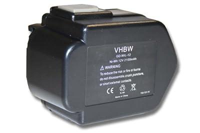 vhbw Akku 2100mAh für Werkzeug AEG PAD12, PAS12PP, PCG12, B12, BF12, BX12, Milwaukee 0502-23, 0502-25, LokTor P12PX, P12TX wie PBS 3000, 49-24-0150.