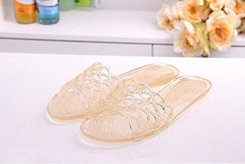Bbslt-the Crystal Lounge Pantoufles Plastique Plage Chaussures Exposé Transparent Plat Base Confortable Pvc Plastique Sandales Imperméable Pluie Vivant Or