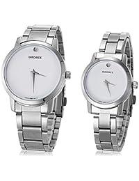 Relojes Hermosos, Unisex simple dial redondo de acero cuarzo de la venda del reloj análogo de la pareja (colores surtidos) ( Color : Negro )