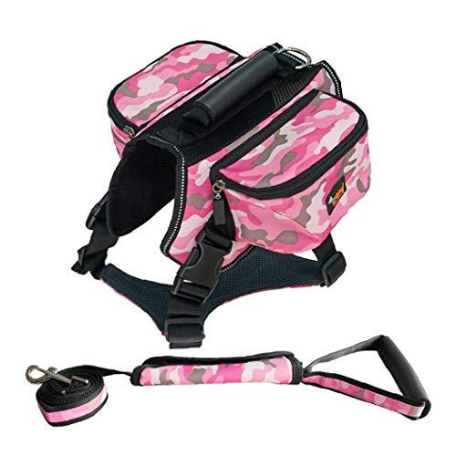 Iaywayii Harness Satteltasche Reflektierende Streifen Mit Leine Für Outdoor-Reisen Training Camping Wandern Bust Größe 88-100cm (Camouflage Pink)