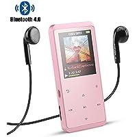 Reproductor MP3 8GB Bluetooth 4.0, AGPTEK A07GU Reproductor de Música Metalico con Altavoz Interna, Radio FM, Botones Táctiles, Extensible Memoria hasta 128GB, Rosa