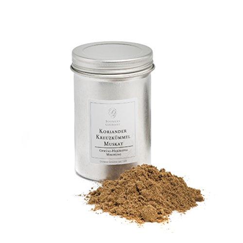 Boomers Gourmet - Gewürz Heilmittel Mischung aus Koriander, Kreuzkümmel, Muskat - in der Schraubdose - 120 g