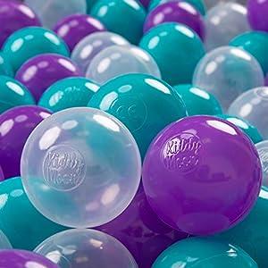 KiddyMoon 700 - Pelotas de plástico para niños, 7 cm de diámetro,, Color Turquesa/Morado/Transparente