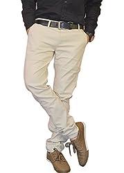 Nation Polo Club Men's Slim Fit Solid Linen Blend Beige Color Trouser