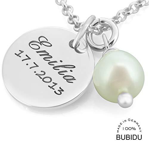 Namenskette 925 Silber mit Gravur ❤️ Silberkette mit Namen ❤️ Schmuck mit Kindernamen Perle ❤️ Schmuck für Mama Oma | HANDMADE IN GERMANY