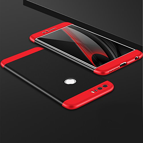 Huawei Honor 8 Hülle, 3 in 1 Ultra Dünner PC Harte Case 360 Grad Ganzkörper Schützend Anti-Kratzer Schutzhülle Vollschutz Hülle für Huawei Honor 8 Fall Premium mattierte Schutzharte Komplettschutz Han rot schwarz