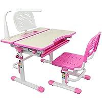 Preisvergleich für 80 cm Höhenverstellbarer Tisch & Stuhl für Kinder , Der kindiliche Schreibtisch in der Schule, ergonomische Schreibtisch für Lernen.Es enthält Neigbarer Desktop, ausziehbare Schublade, Becherhalter, LED-Leuchte mit 3 Einstellungen, undkostenloses Buch Inh