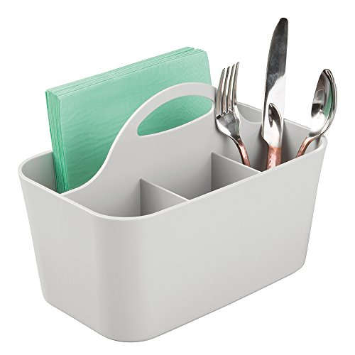 mDesign Kitchen Utensils Holder in Gray - Ideal Cutlery Storage - Cutlery Holder With 4 Compartments for the Storage of Cutlery, Napkins and More - Storage Basket With Handle