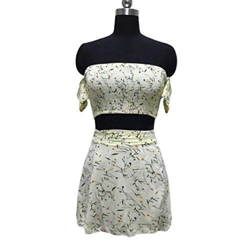 Ärmelloses Beiläufiges Drucken Crop Top Shirt + Rock Zweiteiler Outfit Lässig Sets Partei Kleider Elegante Kleider Festliche Kleider Sling Kleid Schöne Kleider (L, Beige) (Sexy Outfits Für Verkauf)
