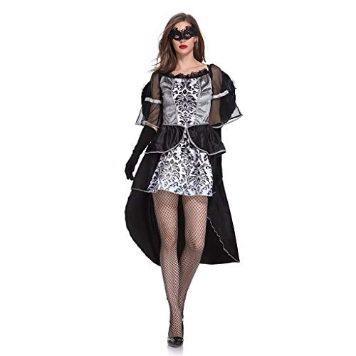 Lomelomme Halloween Damen Halloween Cosplay Schwarzer Engel Kostüm Vintage Langarm Kleid Hexe Teufel Kleid Kurz Schwarz Halloween Party (Engel Teufel Baby Kostüm)