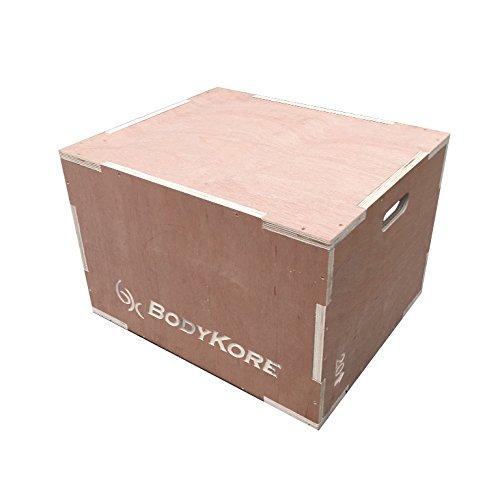 "BodyKore Wood 3-in-1 Plyometric Training Box- Medium (16""x 20""x 24"") Plyobox Plyo Box Test"