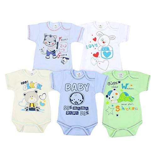TupTam Unisex Baby Body Kurzarm mit Aufdruck Spruch 5er Set , Farbe: Junge, Größe: 80