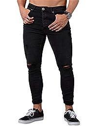 WanYangg Skinny Jeans Herren Zerrissen Denim Hose Mit Rissen Knie Destroyed Löcher  Jeans Kaputte Jeanshosen Basic Stretch… 662cdb3c11