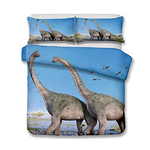 DOTBUY Juego Ropa Cama 3 Piezas 3D Dinosaurios Funda