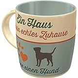 Nostalgic-Art 43040 Retro Kaffee-Becher PfotenSchild - Ein Haus ist kein echtes zu Hause - Große Tasse mit Hunde Motiv, Geschenk-Idee für Hunde-Liebhaber, 330 ml