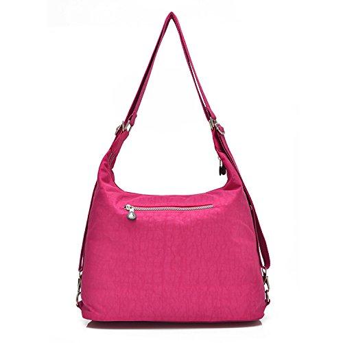 Outreo Taschen Damen Umhängetasche Mädchen Schultertasche Kuriertasche Reisetasche Handtasche Messenger Bag Designer Wasserdichte Sporttasche für Strandtasche Nylon Rot