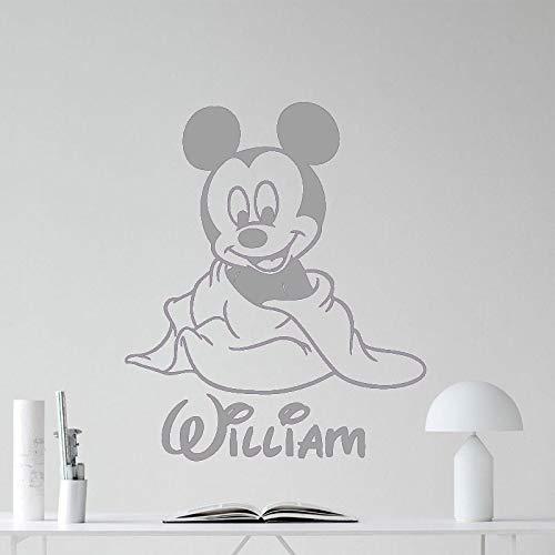 guijiumai Niedliche Cartoon Maus Wandtattoo Benutzerdefinierte Baby Mädchen Jungen Name Raumdekoration Wandaufkleber Nordic Kind Schlafzimmer Dekor N 4 94X85 cm -