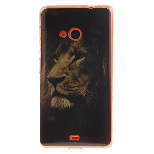 Guran® TPU Silikon Hülle für Nokia Lumia 535 (5 Zoll) Smartphone Gemalt Schutzhülle Cover-Löwe