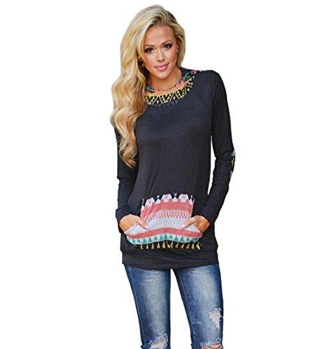 ischen Drucken Pocket Hoodie Sweatshirt mit Kapuze Baumwolle Mischung Pulli Pullover Bluse Schwarz (S) (Kleines Mädchen-kleidung Zu Speichern)