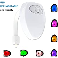 Rechargeable Toilet Night Light, 8 Colors Changing Motion Activated Toilet Light with Waterproof Design