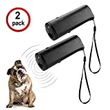 WIRSV 3 in 1 Ultraschall Hunde Antibell, Hund Anti Bellen Anti Bell mit LED Taschenlampe, Hunde Bellen Abgewoehnen Stopper, Hunde Abschreckung Antibellen, 2er Schwarz