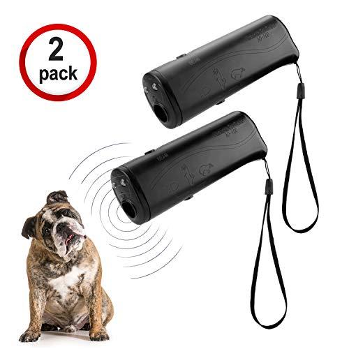 WIRSV 3 in 1 Ultraschall Hunde Antibell, Hund Anti Bellen Anti Bell mit LED Taschenlampe, Hunde Bellen Abgewoehnen Stopper, Hunde Abschreckung Antibellen, Schwarz 2er