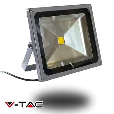 V-TAC : LED Fluter Scheinwerfer Strahler 50W Warmweiß 3000K IP65 4500 Lm Ersetzt 400W Gehäuse grau von UP2date Service GmbH auf Lampenhans.de
