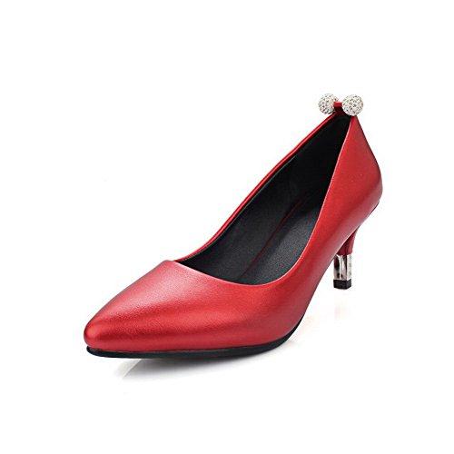 AgooLar Femme Tire Pu Cuir Pointu à Talon Correct Mosaïque Chaussures Légeres Rouge