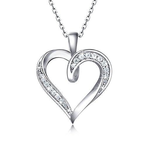 """Billie Bijoux 925 en argent sterling Collier coeur à coeur Infini Platine plaqué Rond CZ Diamant Bijoux femme fine 18 """""""